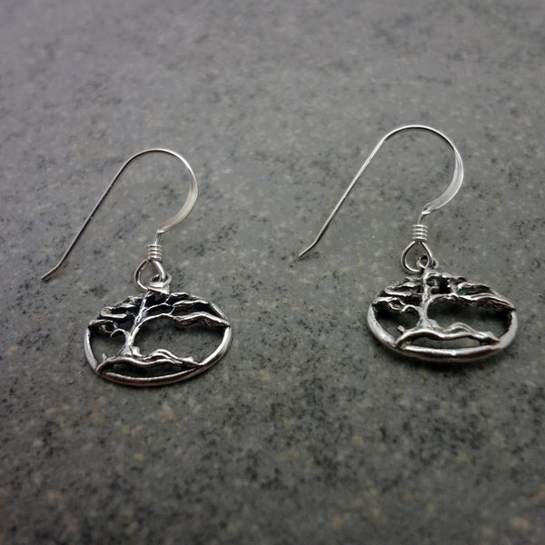 Shore Pine Earrings open handmade in Sterling or 14k gold by All Animal Jewelry