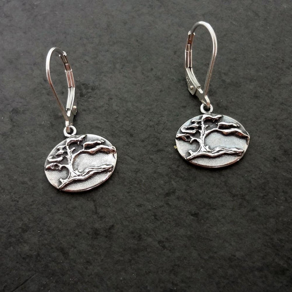 Shore Pine Earrings, closed, handmade in Sterling or 14k gold by All Animal Jewelry