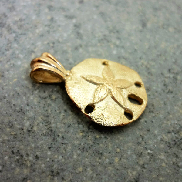 Sand Dollar Pendant, Medium, handmade in Sterling or 14k gold by Tosa Fine Jewelry