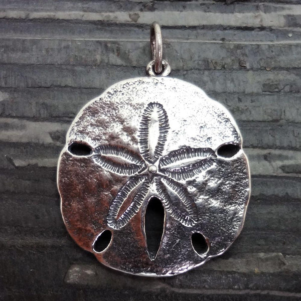 Sand Dollar Pendant, Large, handmade in Sterling or 14k gold by All Animal Jewelry
