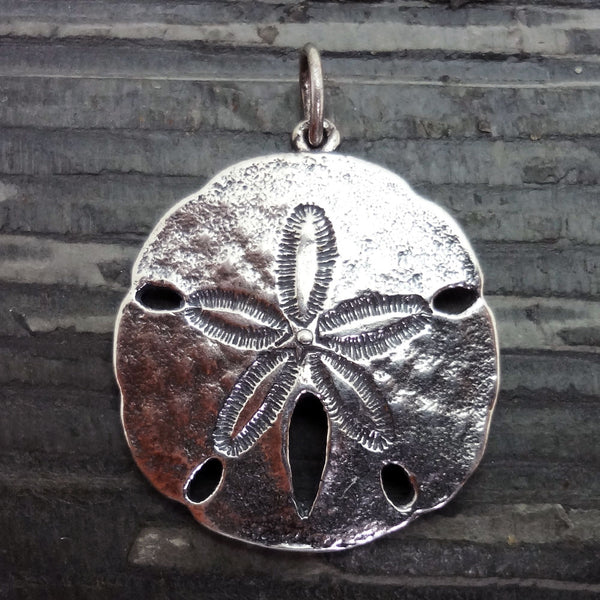 Sand Dollar Pendant, Large, handmade in Sterling or 14k gold by Tosa Fine Jewelry