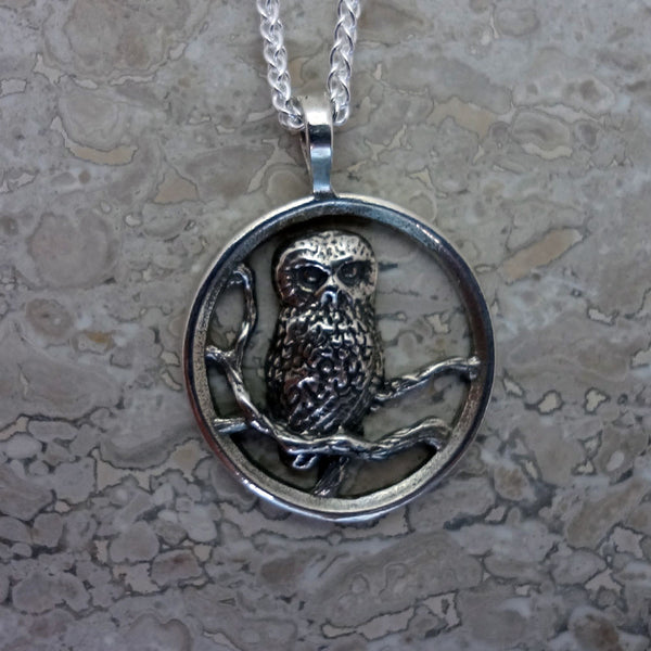Saw-Whet Owl Circle Pendant handmade in Sterling or 14k gold by Tosa Fine Jewelry