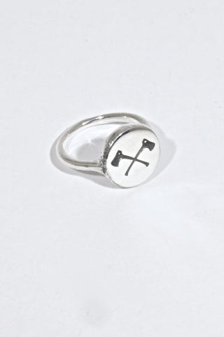 Scout Logo - Women's Engraved Crossed Axes Ring- Exclusive