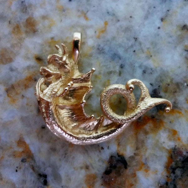 Sea Monster Pendant handmade in Sterling or 14k gold by All Animal Jewelry