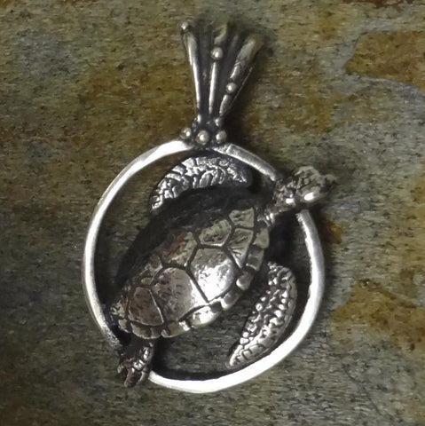 Sea Turtle Pendant handmade in Sterling or 14k gold by All Animal Jewelry