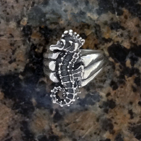 Seahorse Ring handmade in Sterling or 14k gold by Tosa Fine Jewelry