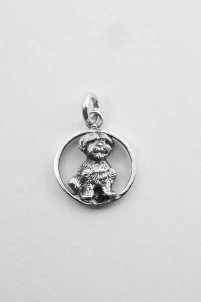 Bichon Adorable Dog Pendant Handmade in the USA in Sterling or Gold