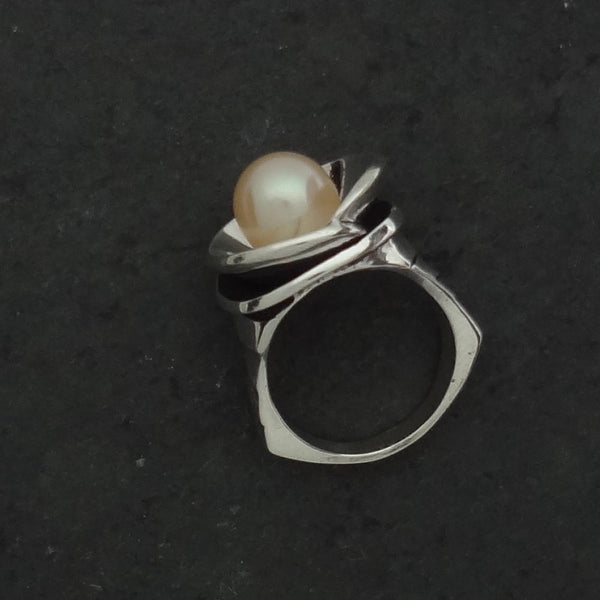 Pearl Lily Pad Ring, Small, handmade in Sterling or 14k Gold by Tosa Fine Jewelry