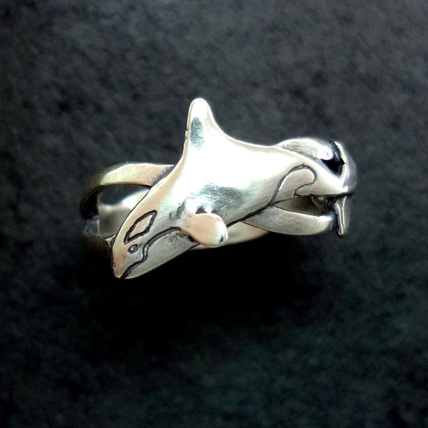Orca - Killer Whale Wave Ring - Handmade in 14k Gold or Sterling Silver - Wholesale