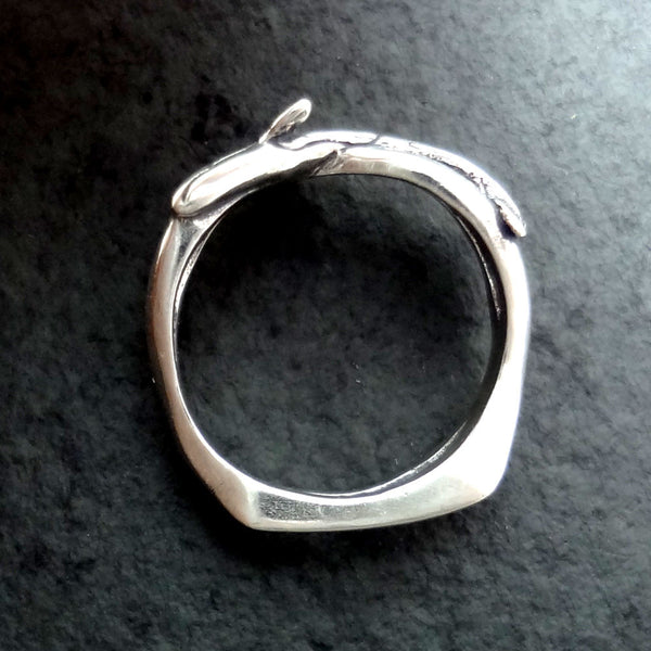 Orca - Killer Whale Wave Ring handmade in Sterling or 14k Gold by Tosa Fine Jewelry