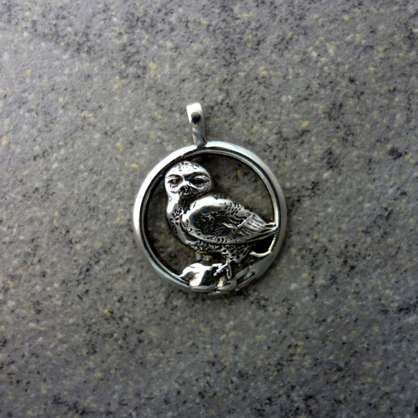 Snowy Owl Pendant - Handmade in 14k Gold or Sterling Silver