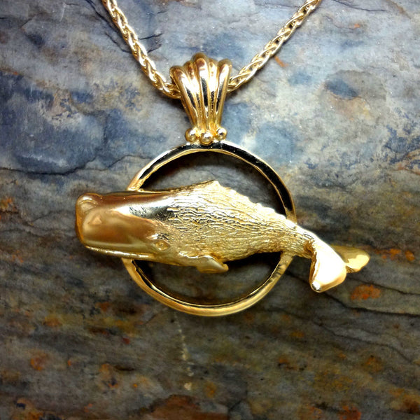 Sperm Whale Circle Pendant handmade in Sterling or 14k Gold by Tosa Fine Jewelry