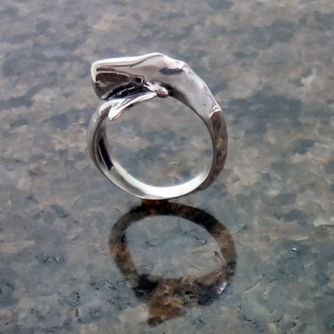 Sperm Whale Ring handmade in Sterling or 14k Gold by Tosa Fine Jewelry