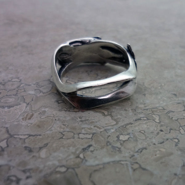 Sperm Whale Wave Ring handmade in Sterling or 14k Gold by Tosa Fine Jewelry