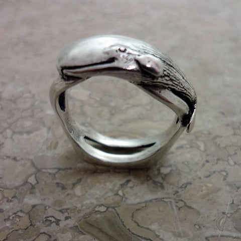 Sperm Whale Wave Ring handmade in Sterling or 14k Gold by All Animal Jewelry