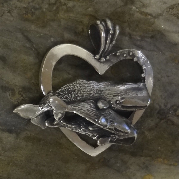 Sperm Whale Mother and Babies Heart Pendant handmade in Sterling or 14k Gold by All Animal Jewelry
