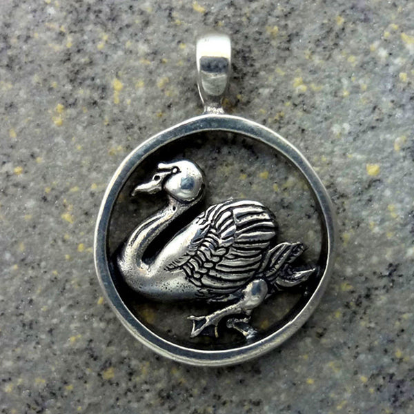 Swan Pendant handmade in Sterling or 14k Gold by All Animal Jewelry