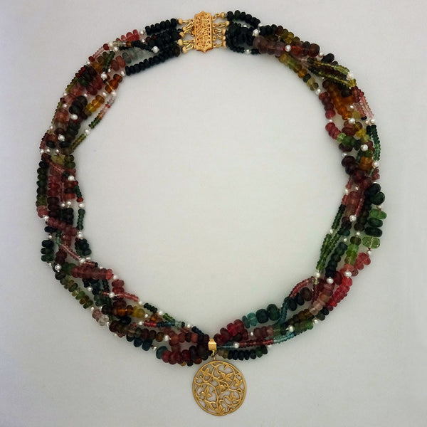 14k Gold Ivy Leaf and Tourmaline Necklace