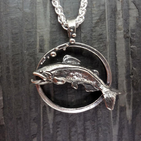 Trout Pendant handmade in Sterling or 14k Gold by All Animal Jewelry
