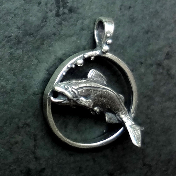 Trout Circle Pendant handmade in Sterling or 14k Gold by Tosa Fine Jewelry