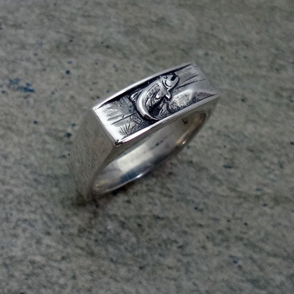 Trout Ring handmade in Sterling or 14k Gold by All Animal Jewelry