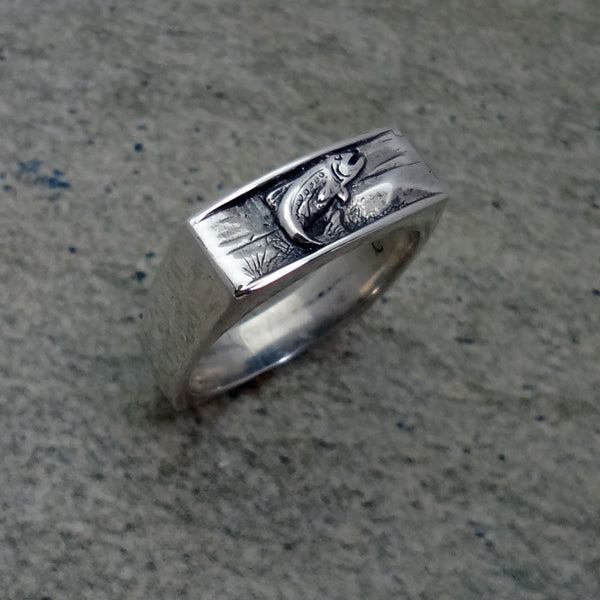 Trout Ring handmade in Sterling or 14k Gold by Tosa Fine Jewelry
