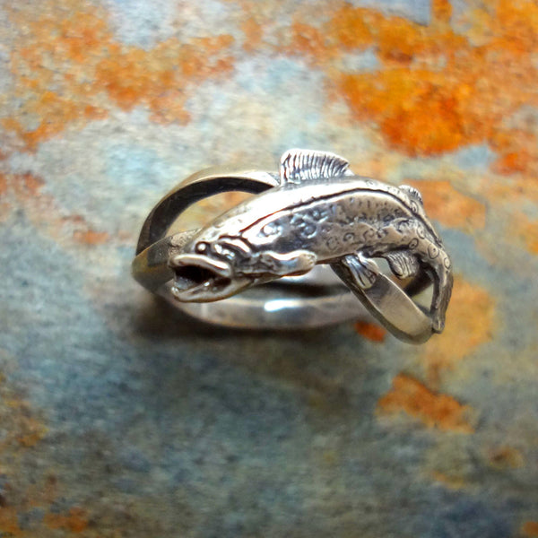 Trout Wave Ring - Handmade in Sterling Silver