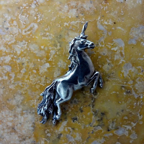 Unicorn PendantUnique Cross Pendant handmade in Sterling or 14k Gold by All Animal Jewelry