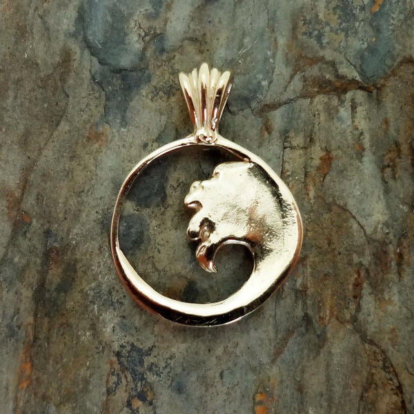Ocean Wave Pendant handmade in Sterling or 14k Gold by All Animal Jewelry
