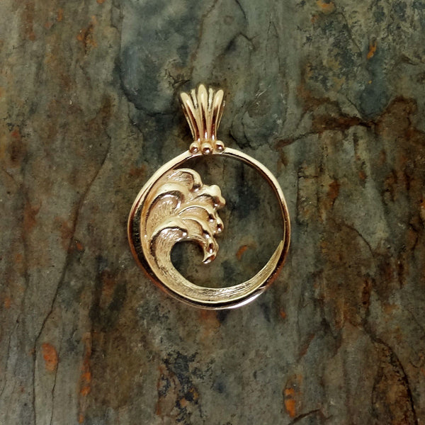 Wave Pendant Ocean Jewelry Silver 14k Gold Charm Usa