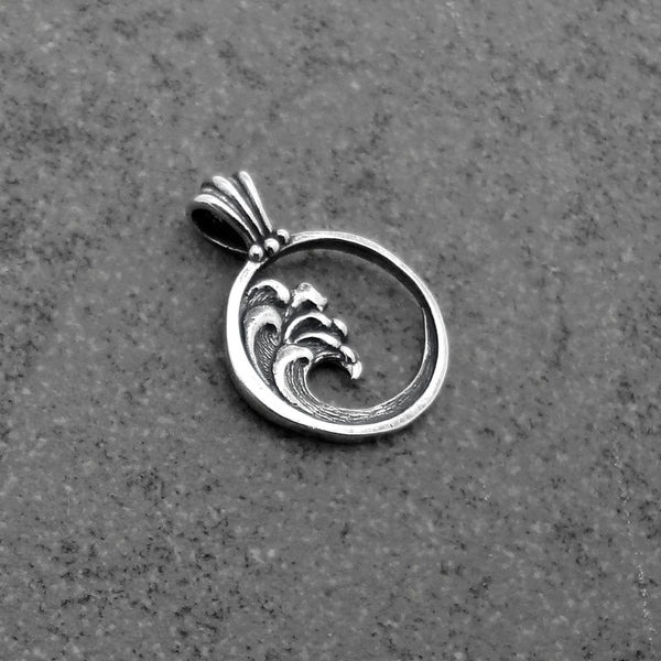 Ocean Wave Circle Pendant handmade in Sterling or 14k Gold by Tosa Fine Jewelry