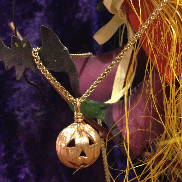 Halloween Jack-o-Lantern Pumpkin Pendant - Handmade in 14k Gold or Sterling Silver