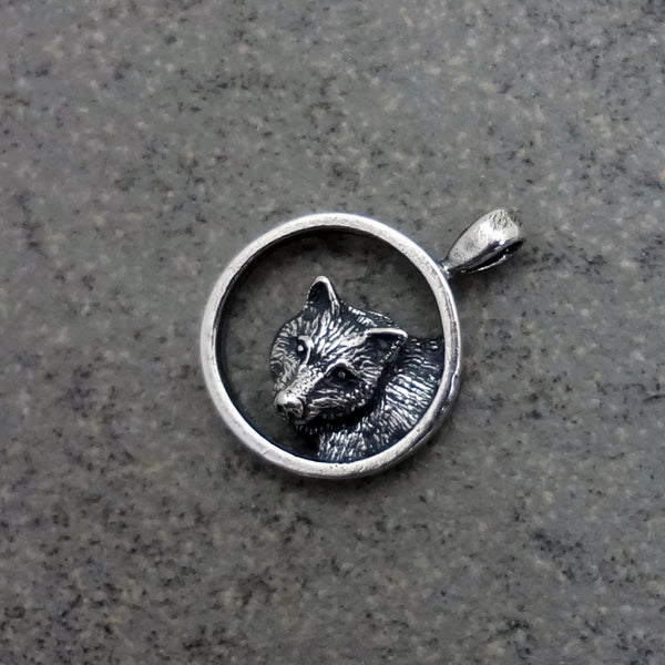 Wolf Circle Pendant handmade in Sterling or 14k Gold by Tosa Fine Jewelry