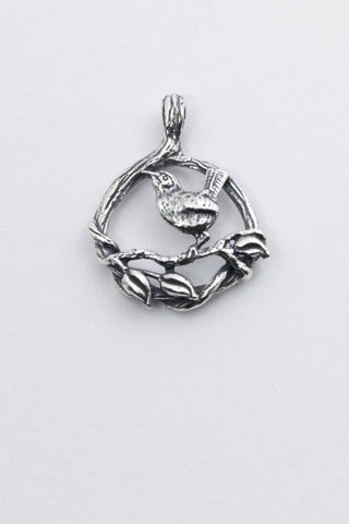 wren bird pendant, hand made by all animal jewelry