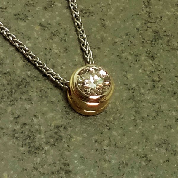 14k pendant, Diamond bezel, Jan David Design, USA.