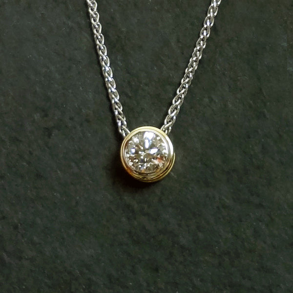 Diamond Bezel set pendant, 14k gold, Jan David handmade, USA.