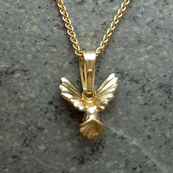 Tiny Humming Bird Pendant handmade in Sterling or 14k gold by Tosa Fine Jewelry