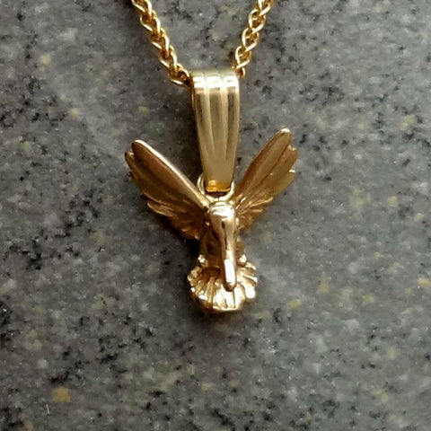 Tiny Humming Bird Pendant handmade in Sterling or 14k gold by All Animal Jewelry