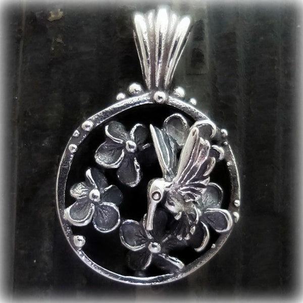 Hummingbird Plumeria Flower Pendant handmade in Sterling or 14k Gold by Tosa Fine Jewelry