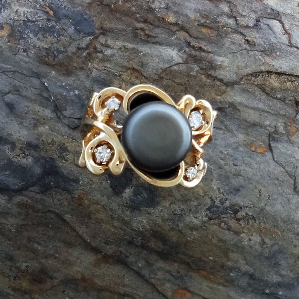 Large Lace ring with pearl, diamonds, 14k gold.  Custom Jan David jewelry, USA.