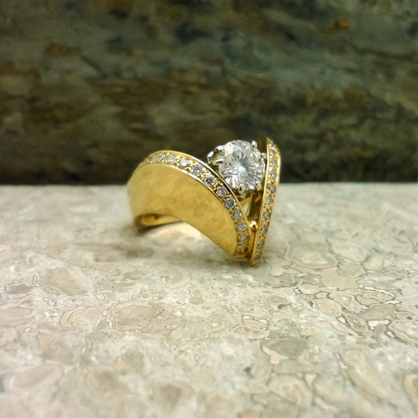 Diamond ring in 18kt gold, Lisa Lee custom design Jan David handmade USA