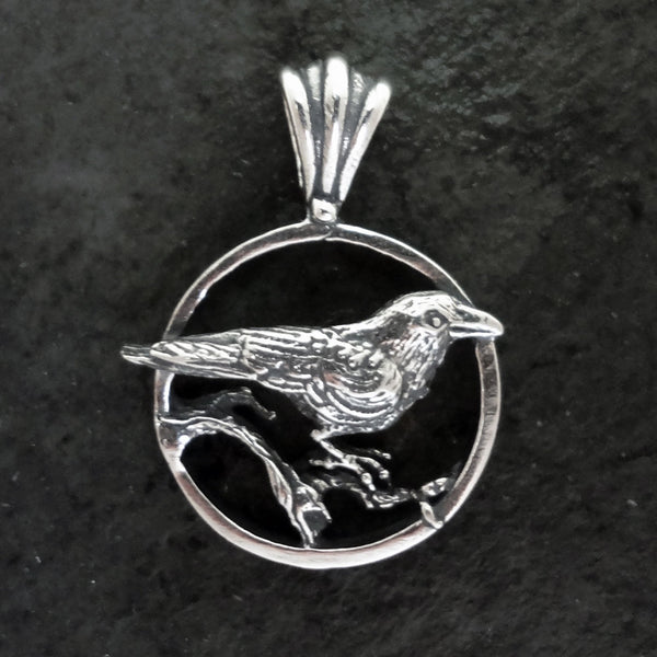 Nevermore Raven Pendant handmade in Sterling or 14k Gold by All Animal Jewelry