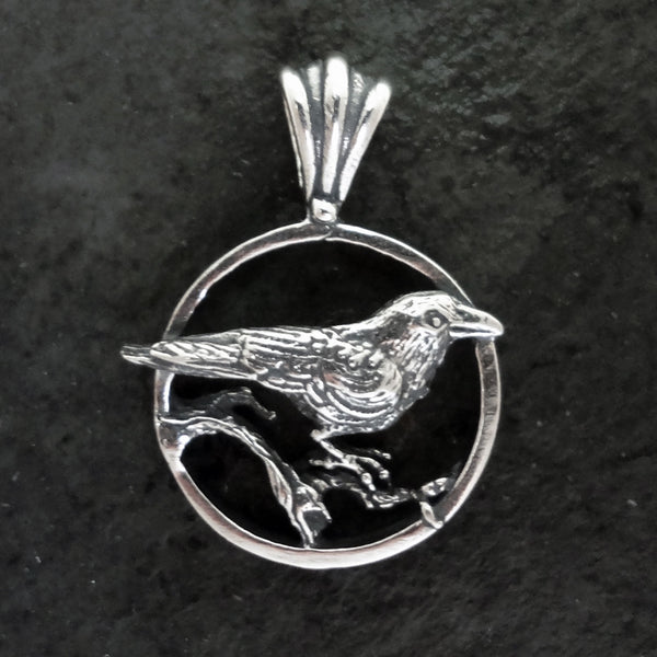 Nevermore Raven Circle Pendant handmade in Sterling or 14k Gold by Tosa Fine Jewelry
