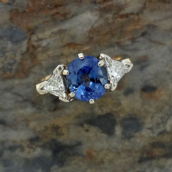 Sapphire and diamond ring in 14k gold and handmade in USA.