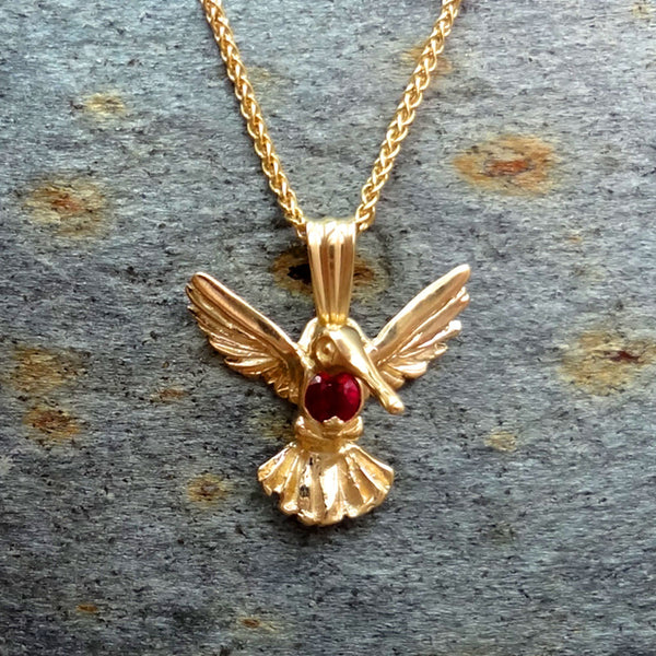 Ruby Throated Humming Bird Pendant - Handmade in 14k Gold