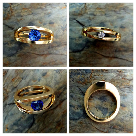 sapphire ring with diamond accent in 14k yellow gold.  Custom design, handmade in USA.