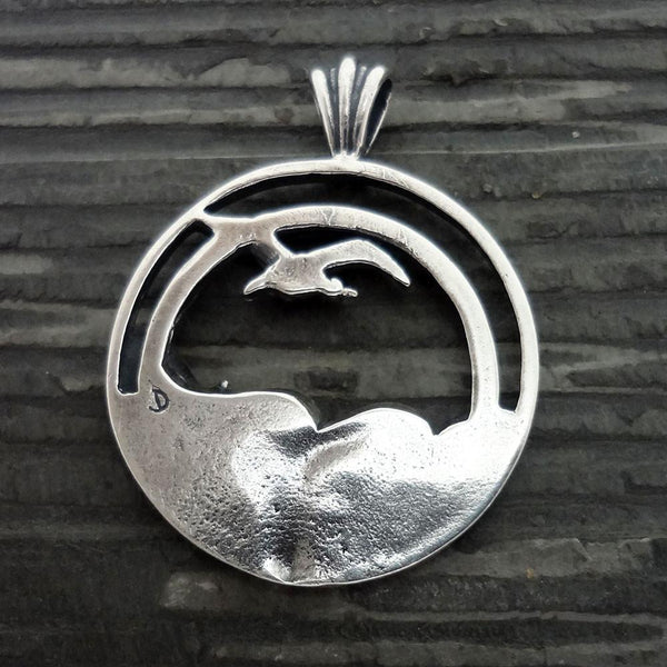 Seagull Sunset Wave Pendant handmade in Sterling or 14k gold by All Animal Jewelry