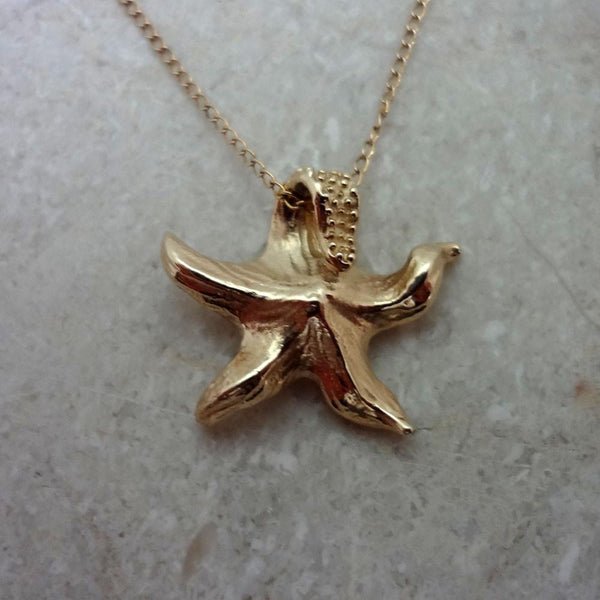 Starfish Pendant handmade in Sterling or 14k Gold by All Animal Jewelry