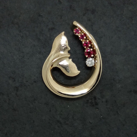 Custom Whale Tail Wave Pendant w/ Ruby and Diamond handmade in Sterling or 14k gold by Tosa Fine Jewelry