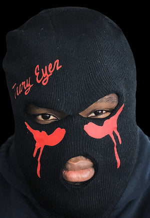 Black and red Teary Eyez ski mask